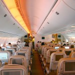 Economy class cabin of Etihad Airways 777-300ER in a 3-3-3 layout