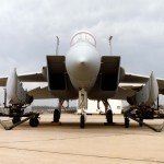 Front view of an F-15C with the conformal FAST PACK fuel tanks on the trailers