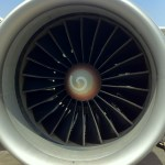 A General Electric GE90-90B turbofan mounted on a Saudi Airlines Boeing 777-200ER
