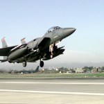 An F-15E Strike Eagle takes off from the flightline at Incirlik Air Base, Turkey, Dec. 30 during a sortie in support of Operation Northern Watch. (U.S. Air Force photo by Staff Sgt. Vincent Parker)