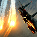 An F-15E Strike Eagle from the 391st Expeditionary Fighter Squadron at Bagram Air Base, Afghanistan, launches heat decoys during a close-air-support mission over Afghanistan on December 15, 2008.