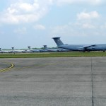 C-5 transports lined up during the 2012 Great New England Air Show at Westover Air Reserve Base (Air Cache photo/John M. Guilfoil)