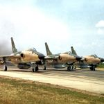 F-105s take off on a mission to bomb North Vietnam, 1966. (U.S. Air Force photo)