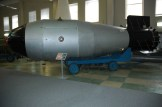 "Model of the ""Tsar Bomba"" in the Sarov atomic bomb museum."