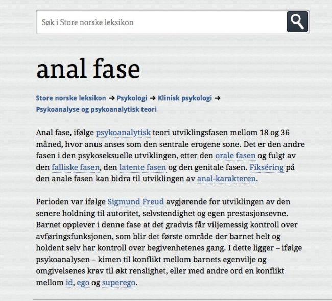"""""""Den anale fase"""" forklart av Store norske leksikon"""