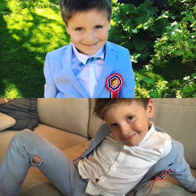 Før- og etterbilde. 17.mai er over snittet gøy når man er fem år og har ny dress.