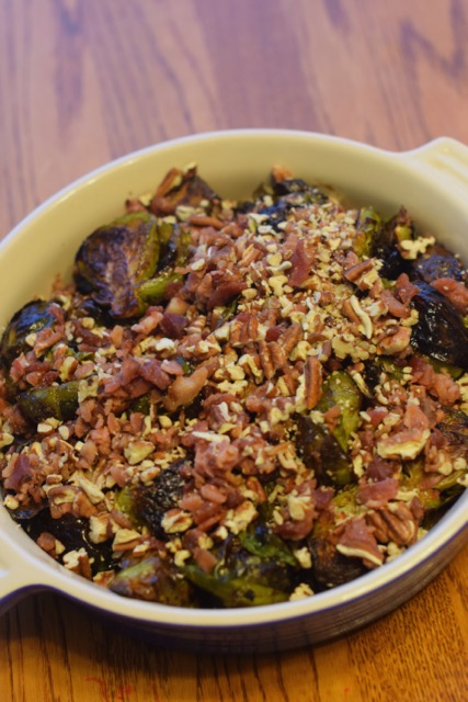 Roasted Brussels Sprouts with Bacon, Pecans, and Maple Vinaigrette