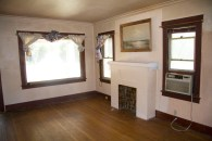 ventless fireplace mantel in the living room