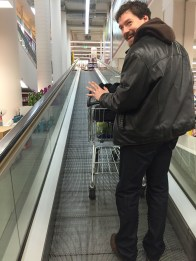 """""""Look ma, no hands!"""" escalator at a local grocery store."""