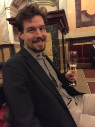Having a quick drink during intermission at the Semperoper