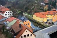 Looking down from Bautzen's city walls to the river below