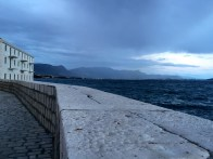 Rain in the distance over the city of Split
