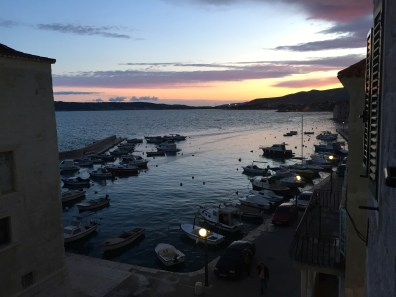 Lovely sunset outside of our hotel on the first night in Croatia