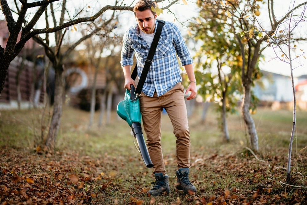 blowing leaves with a corded electric leaf blower