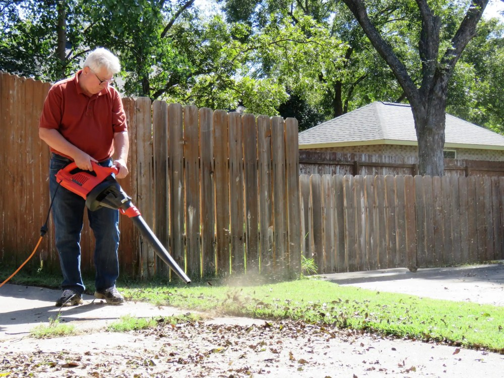 blowing leaves with corded electric leaf blower