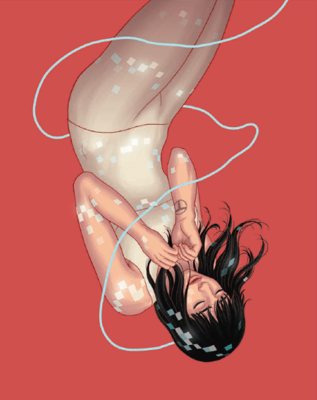 female AI upside down, floating with lights and lighted wire around her