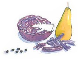 Red cabbage and pear illustration by Carrie Hill for The Allotment Kitchen by Susan Williamson