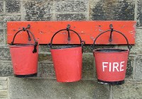 Three Red Fire Buckets