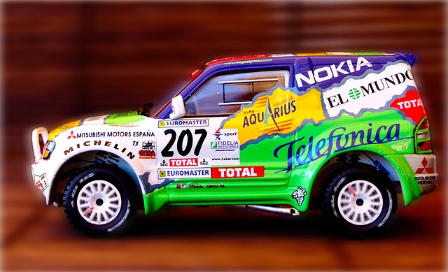 Rally car covered with sponsorships