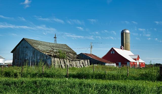 Farm house with barn and silo