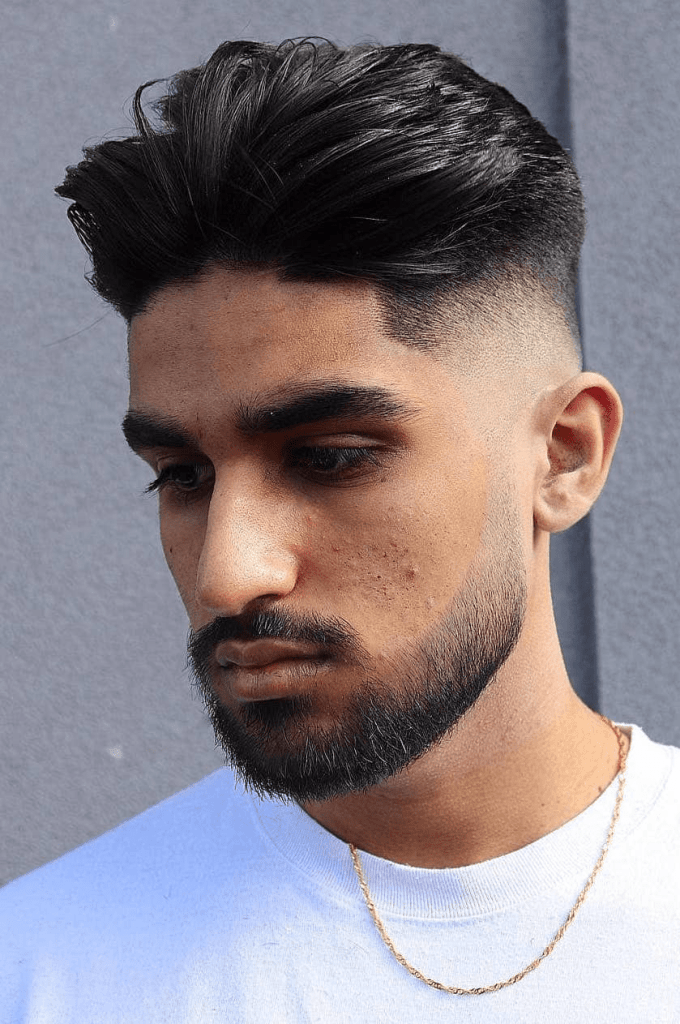 Puffed Quiff with Neat Low Drop Fade