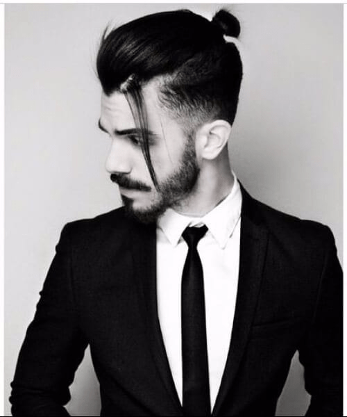 The Low Fade Haircut with Top Knot