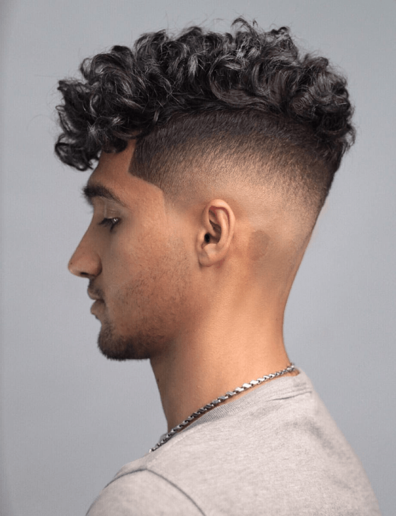 Low fade and Curly Top Hairstyle
