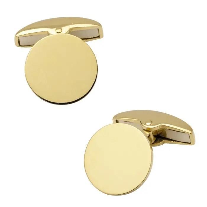 Round plain gold cufflinks