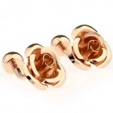 Rose Gold Flower Cufflinks