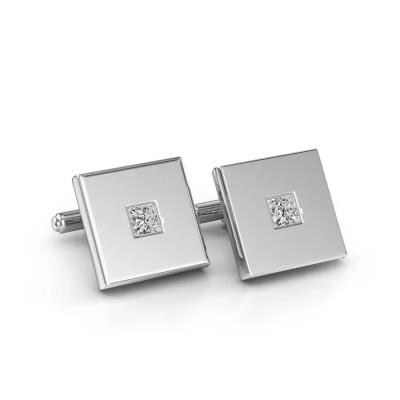 White gold cufflinks with diamonds