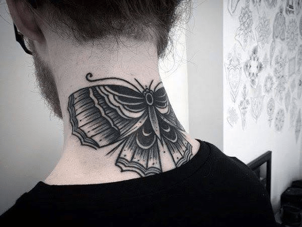 Butterfly Tattoo On The Back of The Neck