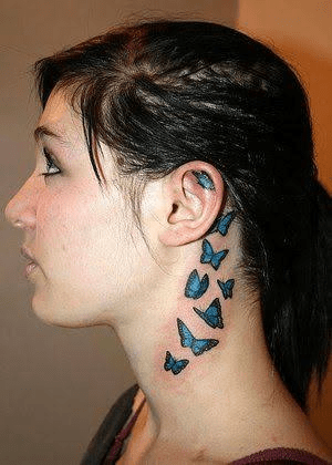 Small Butterfly Tattoos On Neck