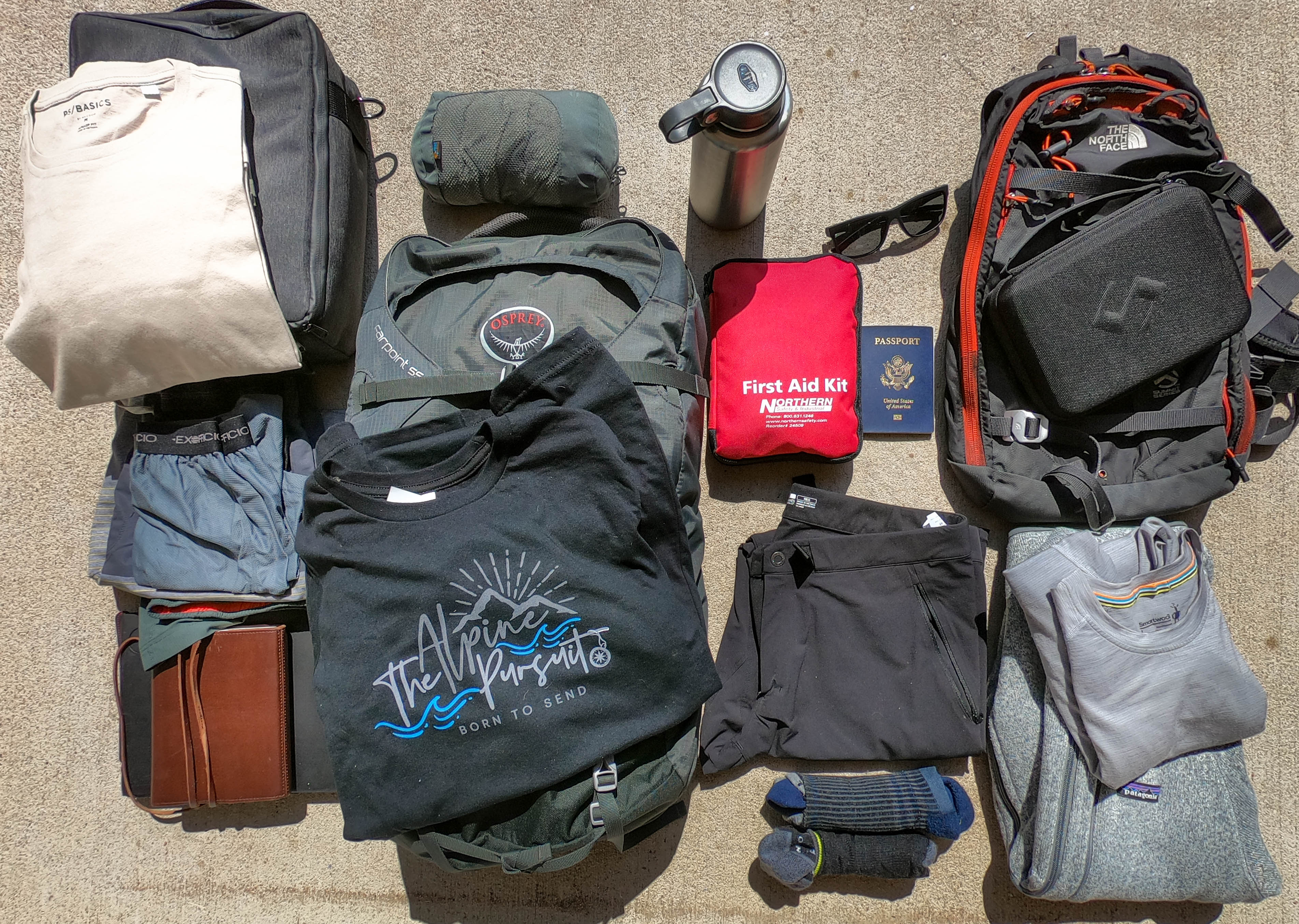 Travel packing list for adventure.