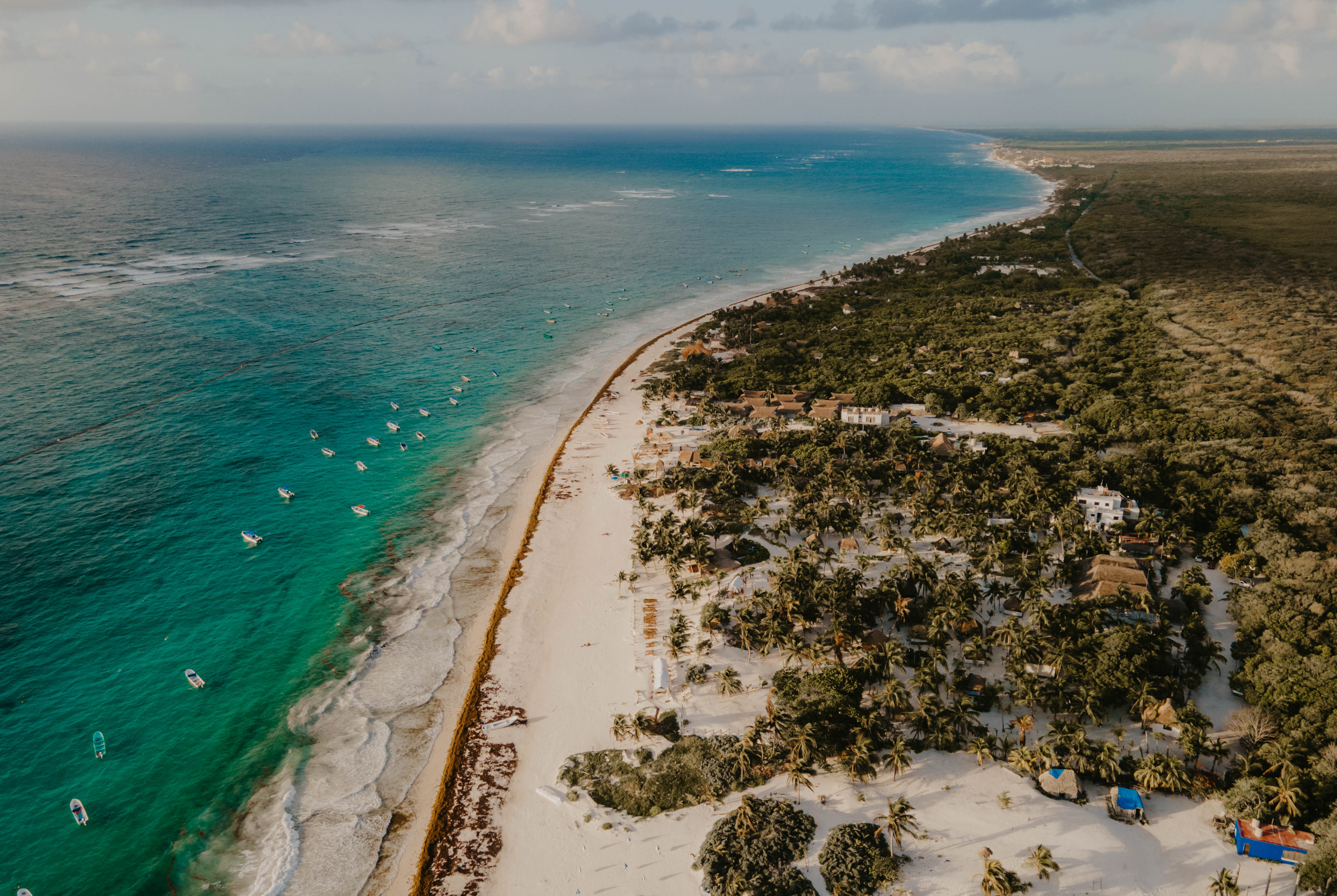 Aerial view over Tulum Beach in Mexico with the Mavric Air 2 drone.