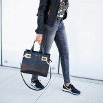 NIKE AIR PEGASUS 83 in ROSE GOLD- rose gold sneakers, casual outfit ideas, mom on the go fashion, leather moto jacket, leather jacket under $100, athleisure, henri bendel, fashion, dallas blogger, brown girl blogger, black fashion blogger
