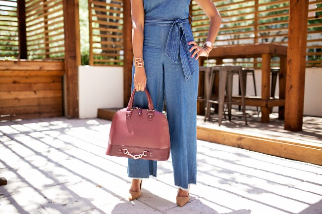 denim jumpsuit- zara nude pumps- justfab burgundy handbag