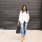 how to wear white button down shirt, american eagle tom girl jeans, boyfriend jeans, zara sandals, justfab tote, aviator sunglasses, dallas fashion blogger, black girl blogger, statement bag, Celine look for less