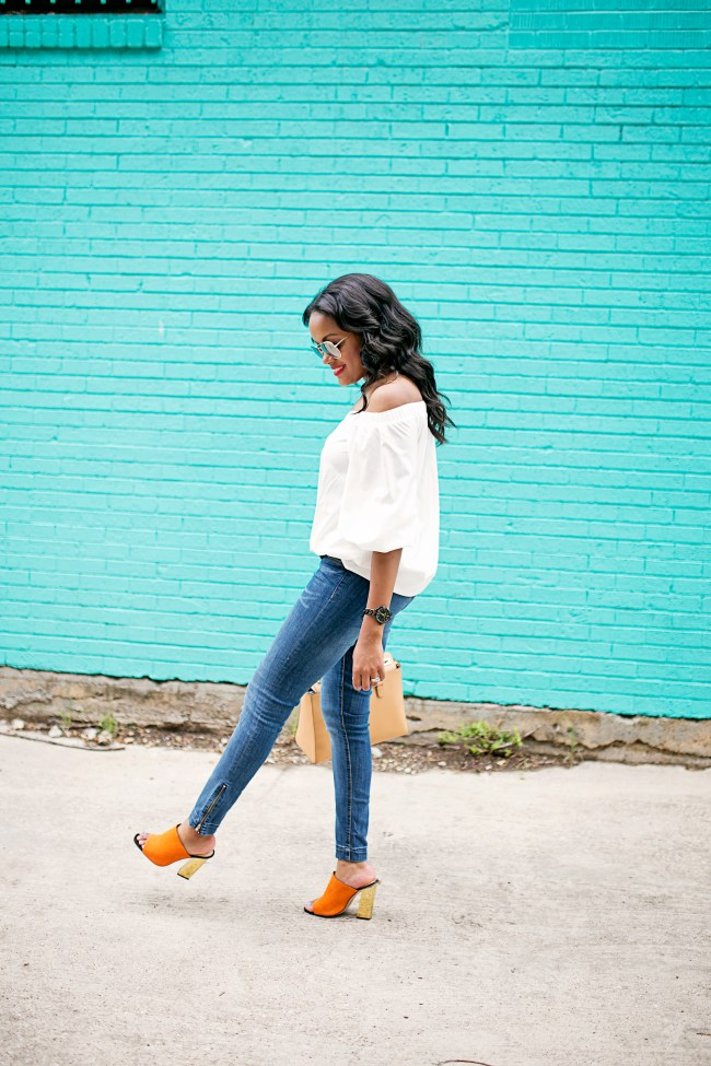 SheIn off shoulder blouse, off shoulder trend, mirror aviator sunglasses, how to wear off shoulder, summer daytime style inspiration, zara mule sandals