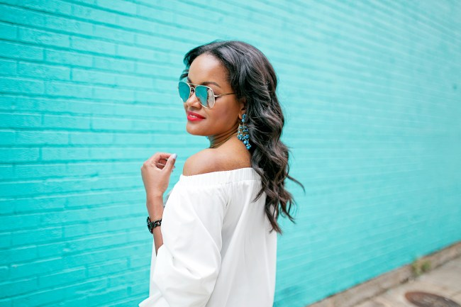 SheIn off shoulder blouse, turquoise chandelier earrings, mirror aviator sunglasses, perfect wand curls, perfect wavy hair, wavy hair black girl