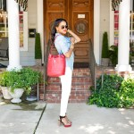 target denim shirt, h&m white slim jeans, zara heeled sandals, justfab bucket bag, dallas fashion blogger