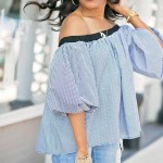 SheIn plaid off shoulder top, fringe denim shorts