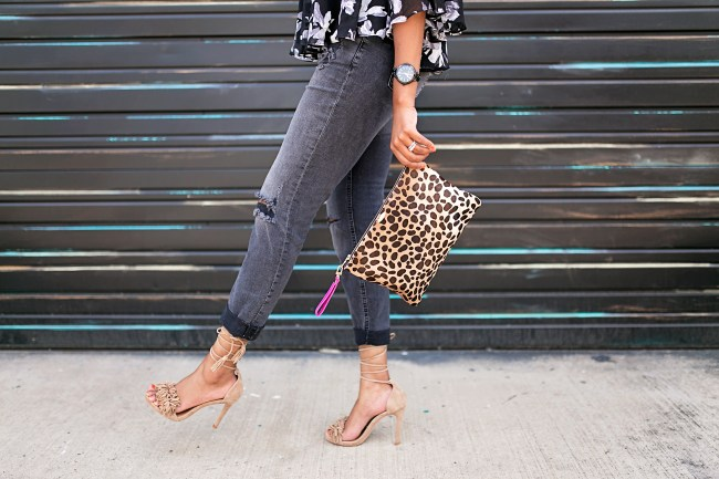 leopard clutch, clare v dupe, steve madden blush sassey sandals, gray ripped jeans