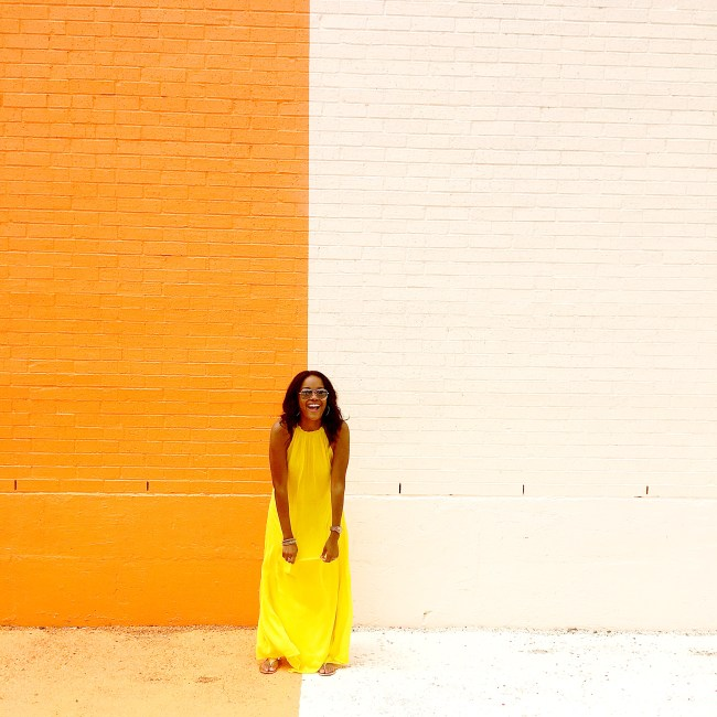 sugar and cloth color wall, houston texas, dallas blogger, yellow asos maxi dress, road trip,