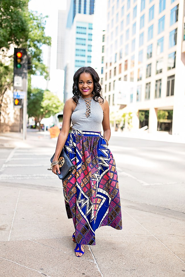 ANKARA FASHION, H&M LACE UP BODY SUIT, ANKARA MAXI SKIRT, AFRICAN PRINT SKIRT, DALLAS BLOGGER, BLACK FASHION BLOGGER, WHIMSY LUXXE , SUMMER TREND, ANKARA PRINT TREND, JUSTFAB FRINGE SANDALS, HOW TO WEAR ANKARA PRINT