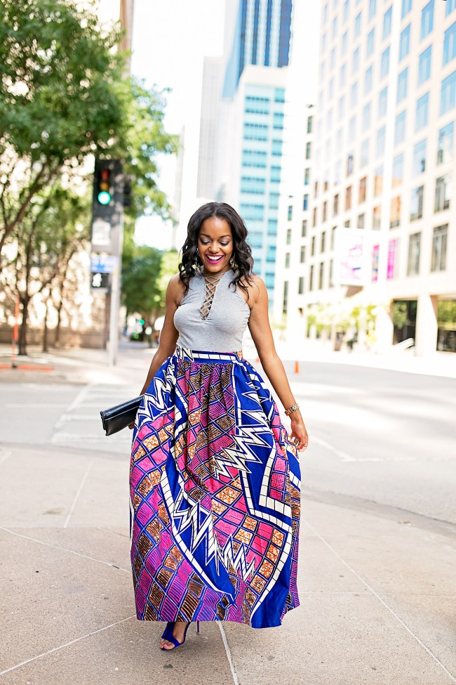 ANKARA FASHION, H&M LACE UP BODYSUIT, ANKARA MAXI SKIRT, AFRICAN PRINT SKIRT, DALLAS BLOGGER, BLACK FASHION BLOGGER, WHIMSY LUXXE , SUMMER TREND, ANKARA PRINT TREND, JUSTFAB FRINGE SANDALS, HOW TO WEAR ANKARA PRINT