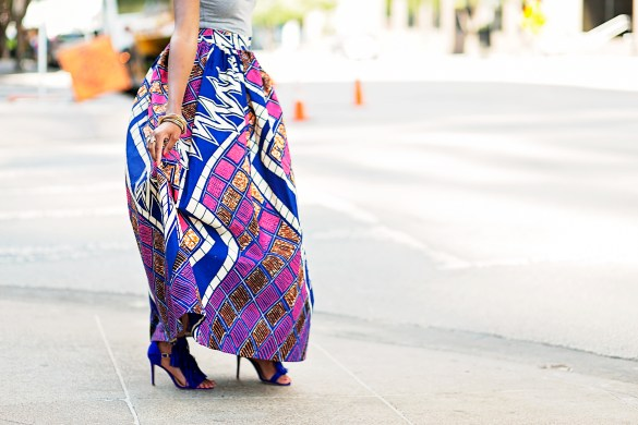 ANKARA MAXI SKIRT, AFRICAN PRINT SKIRT, DALLAS BLOGGER, BLACK FASHION BLOGGER, WHIMSY LUXXE , SUMMER TREND, ANKARA PRINT TREND, JUSTFAB FRINGE SANDALS, HOW TO WEAR ANKARA PRINT