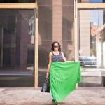 SheIn green maxi skirt, h&m scoop back bodysuit, michael kore black wedges, tory burch robinson bag, target cat eye sunglasses, dallas fashion blogger, black fashion blogger, how to wear a maxi skirt