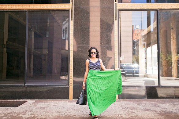 SheIn green maxi skirt, h&m scoop back bodysuit, michael kore black wedges, tory burch robinson bag, target cat eye sunglasses, dallas fashion blogger, black fashion blogger, how to wear a maxi skirt