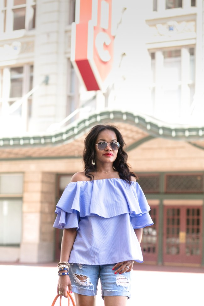 SheIn plaid ruffle off shoulder top, target aviator sunglasses, summer trend, dallas blogger, fashion blogger, black girl blogger