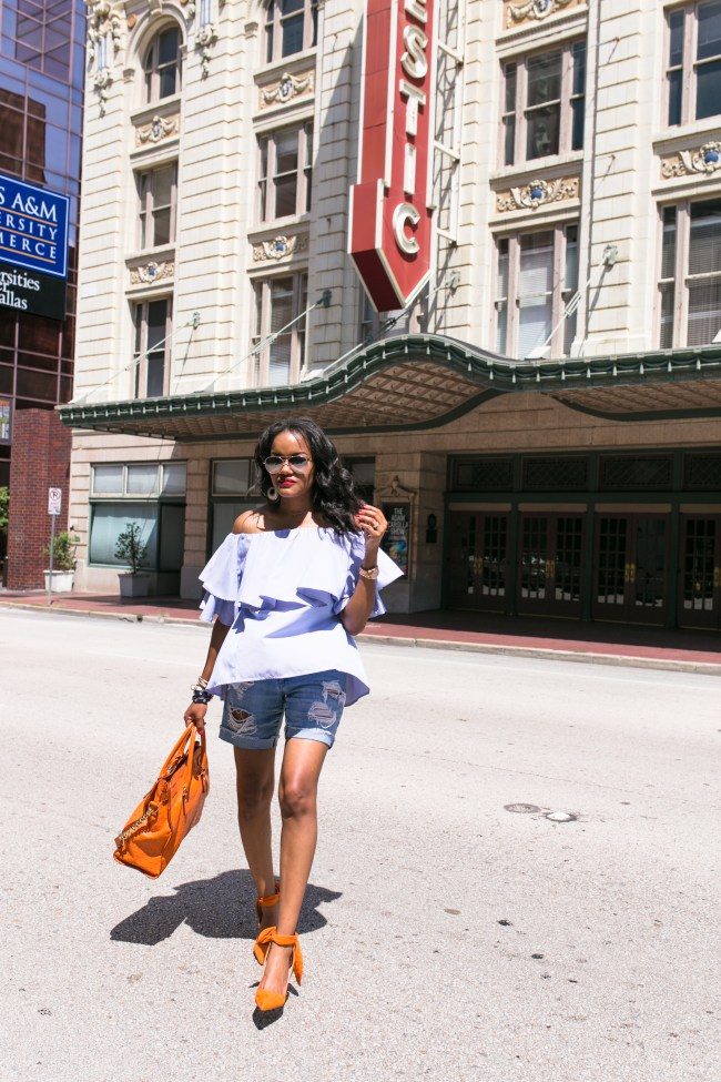 SheIn plaid ruffle off shoulder top, ripped boyfriend shorts, michael kors hamilton bag, zara bow shoes, how to dress up shorts, summer trends, dallas blogger, fashion blogger, black girl blogger